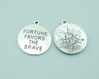10pcs 25mm Antique Silver Fortune Favors The Brave Charm Pendants,Letters Charm Pendants Z1556