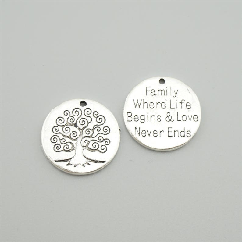Bulk 50pcs 20mm Antique Silver Family Where Life Begins And Love Never Ends Charm Pendants Tree Charm Pendants Z0715