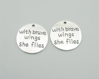 10pcs 25mm Antique Silver With Brave Wings She Flies Charm Pendants,Letters Pendants ZT1295