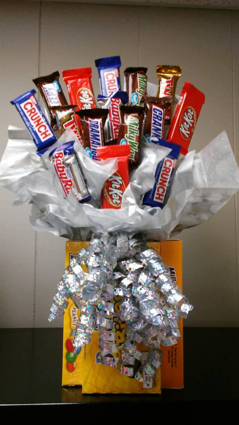 All chocolate candy bouquet I can change color of bow and paper.