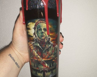 30oz horror movie stainless steel tumbler can be made into any horror movie character you want, Michael Myers is the pictured one.