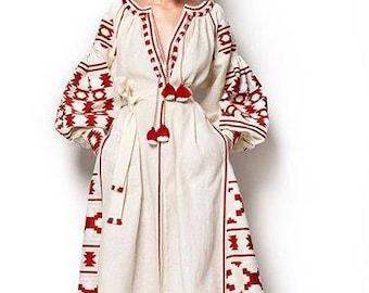 Ukrainian Linen Embroidered Midi Dress Vyshyvanka Ivory Dress Embroidered Ukraine Dress Mexican Dress Women Linen Vyshyvanka Chic Nationale