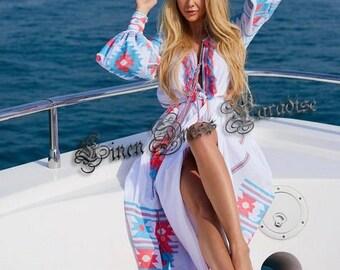 White Linen Embroidered Vyshyvanka Dress Ukrainian Dress Vegan Dress Vyshyvanka Dress Geometric Pattern Kaftan Abaya Pure Linen Dress Boho