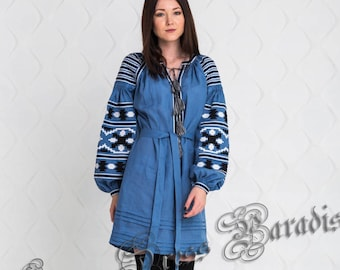 SALE -20%! US2 SIZE! Ready to ship! Saturated Azure Women Embroidered Short Dress Vyshyvanka Ukrainian Clothes Embroidery Caftan Linen Tunic