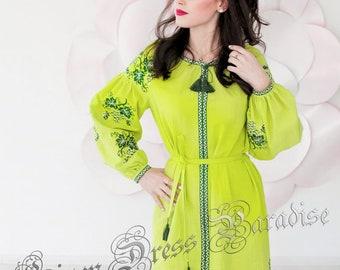 Lime Grape Dress Ukrainian Coton Embroidered Midi Dress Vyshyvanka Lime Dress Embroidered Ukraine Dress Mexican Dress Abaya Loose Dress Boho