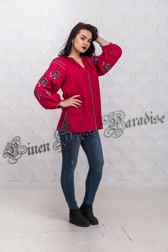Ready Mexican Crimson US to Top Vyshyvanka 6 AU Sweater Size Embroidery SALE size Holiday Boho Embroidered Embroidered Top ship 20 Plus anIAqEx8