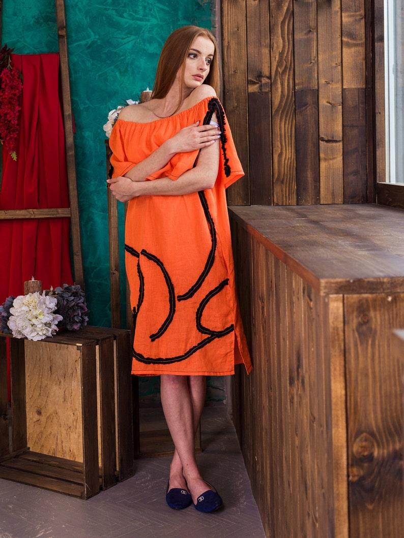 Ready to ship Cocktail Dress Orange Sundress Linen Gown Handmade Things Formal Dress Boho Summer Dress Linen Loose Dress Linen Tunic Top S