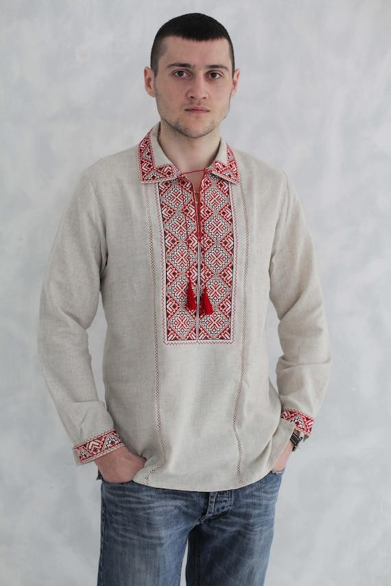 Traditional Ukrainian shirts Gift for Him Gift for Christmas Gift for Christmas Shirt Ukrainian Vyshyvanka Men/'s embroidered shirt