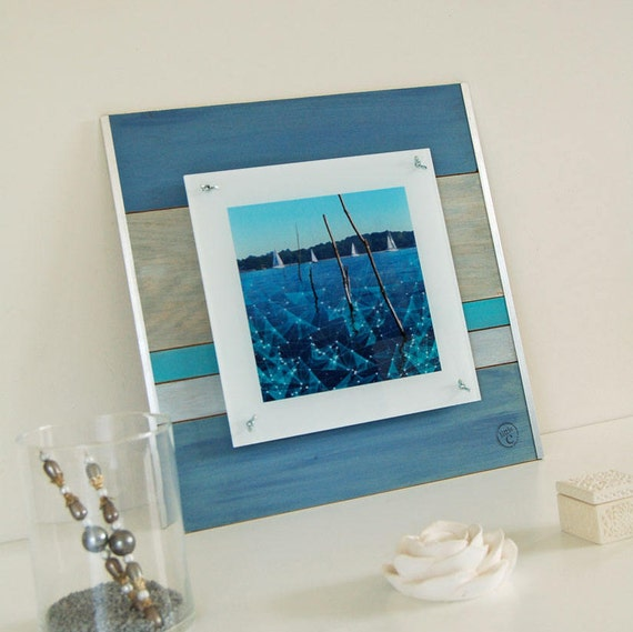 cadre en bois et photo sur plexiglas du golfe du morbihan etsy. Black Bedroom Furniture Sets. Home Design Ideas