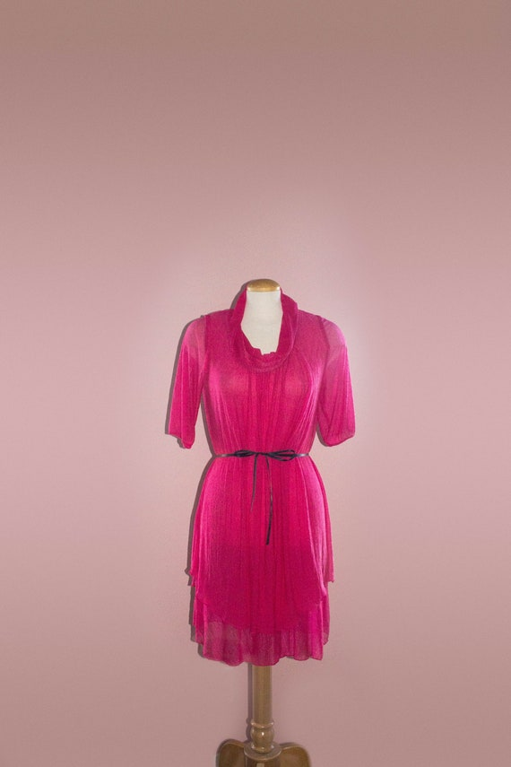 Pink Fuchsia Organza Dress Cowl Neck Lightweight S