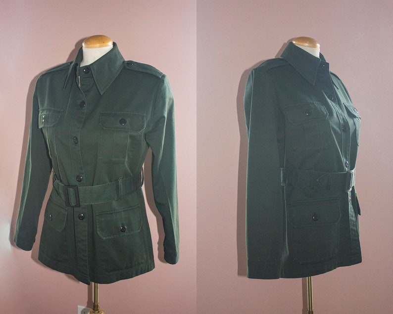 Olive Army Green Khaki Cotton Army Surplus Canadian Forces Jacket Collar  Button Up Grunge Vintage 80s Small Medium