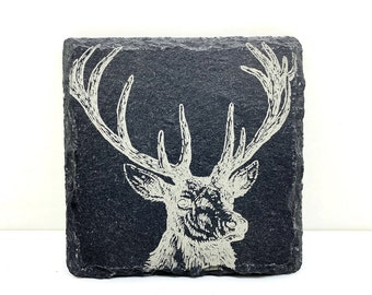 Stag Gift Drinks Mat Countryside Gift Stag Coaster Country Kitchen Glass Coaster
