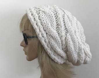 White Slouchy Hat Knit Hat Ready to ship Winter hat Crochet Hat Women, Beanie Oversized, Knit hat women, Gift for her, EXPRESS SHIPPING