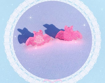 Bat Stud Earrings - Gilttery Pink