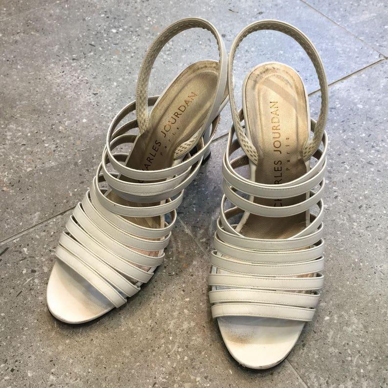 90d06ea94d Vintage Charles Jourdan White Leather Slingback Sandal Heels   Etsy