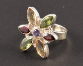Solid Sterling Silver Ring Multi Stone Silver Ring Silver Handmade Ring Size 8 Faceted Gemstone Garnet Ring J01