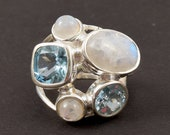 925 Sterling Silver Ring Size 8 Multi Stone Ring Rainbow Moonstone Ring Blue Topaz Ring Solitaire Ring Silver Ring J136