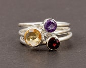 925 Sterling Silver Ring Size 7 Multi Stone Ring Garnet Ring, Amethyst Ring, Citrine Ring, Solitaire Ring Silver Ring J121