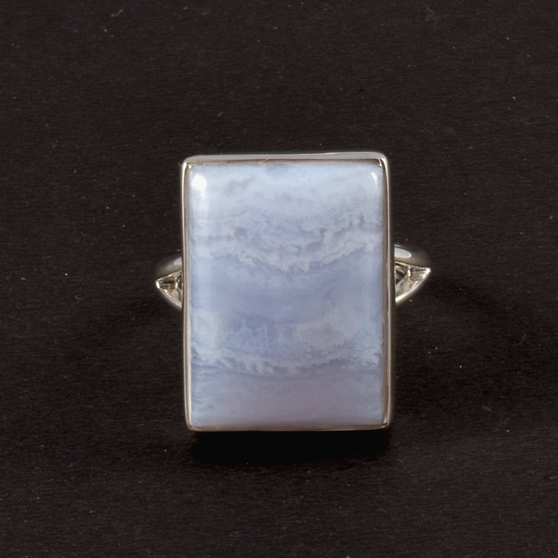 Handmade Silver Jewelry J90 Natural Gemstone Ring Size 8 Blue Lace Gate Gemstone Ring Solid Sterling Ring 925 Sterling Silver Ring