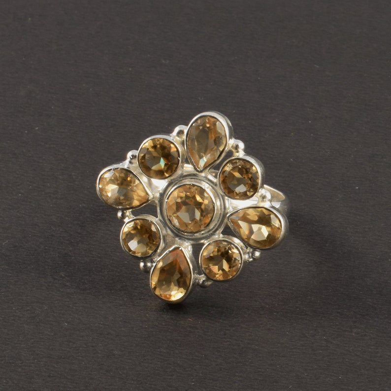 925 Solid Sterling Silver Ring Faceted Citrine Gemstone Ring Handmade Silver Ring Natural Citrine Gemstone Ring J05