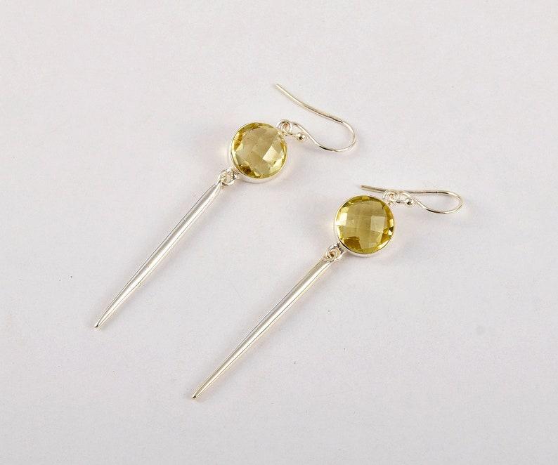 Bezel Earring Lemon Quartz Gemstone Earrings Lemon Quartz Silver Earrings Silver Gemstone Earrings J851 Bridesmaid Earring