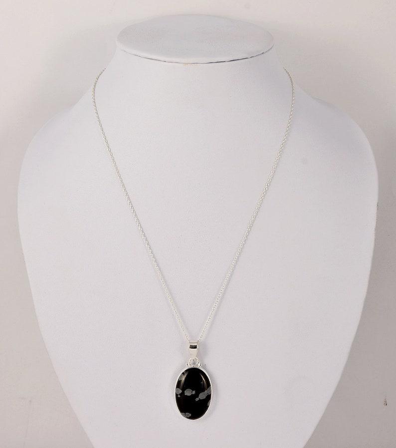 Genuine Black Picasso Jasper Cabochon Necklace Pendant 925 Sterling Silver Chain Pendant Necklace Natural Picasso Jasper Jewelry J564