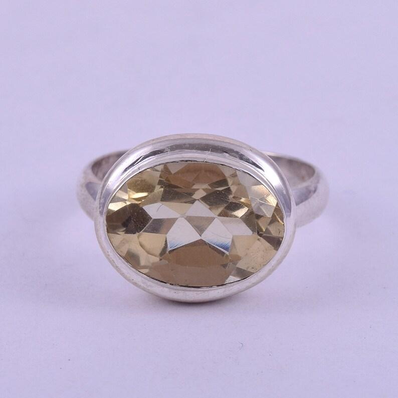 J1513 Ring Size 7 US Oval Citrine Gemstone Handmade Rings 6 Gm Natural Citrine Gemstone Rings Citrine November Rings
