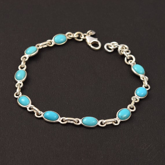 Nice Blue Copper Turquoise,Handmade Bracelet,Blue Color Bracelet,Gemstone 925 Sterling Silver Jewelry,For Her Jewelry,Bracelet Size-7-9