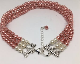 Lynne - Dusky Pink Glass Pearl Choker//Statement Necklace//New Look Ladies Classic//Triple Strand Pearls