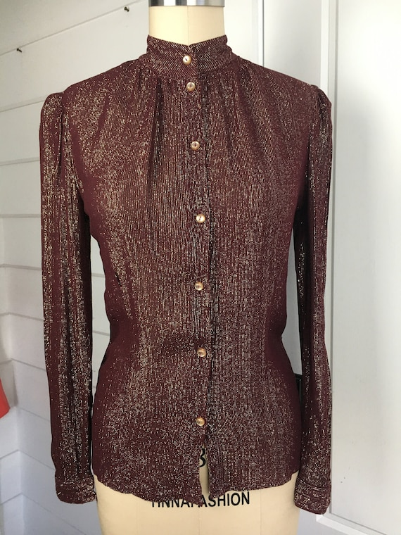 French Vintage 70s Wine Coloured Shirt with Gold L
