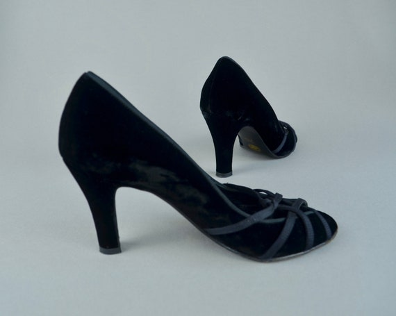 Bally Black Velvet Grosgrain Shoes
