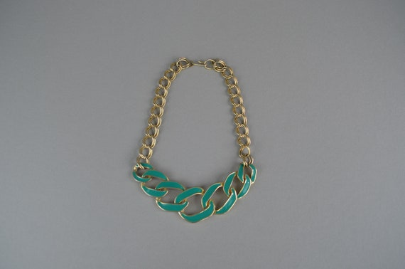 Barcs 1980s Sea Green Enamel Necklace