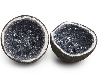Digging Dolls: 1 pc Sparkling Hematite Cobalt Geode (both matching halves) from Morocco -  Beautiful Man Made Geode for Crafts