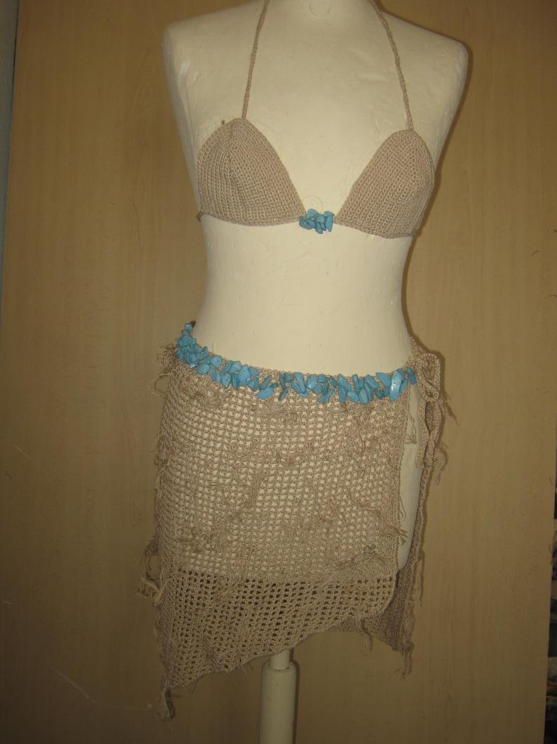 Pareo crochet tg.S.di cotone hand made con pietre turchesi