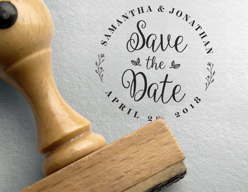 Mason jar daisy flowers save the date wedding rubber stamp.