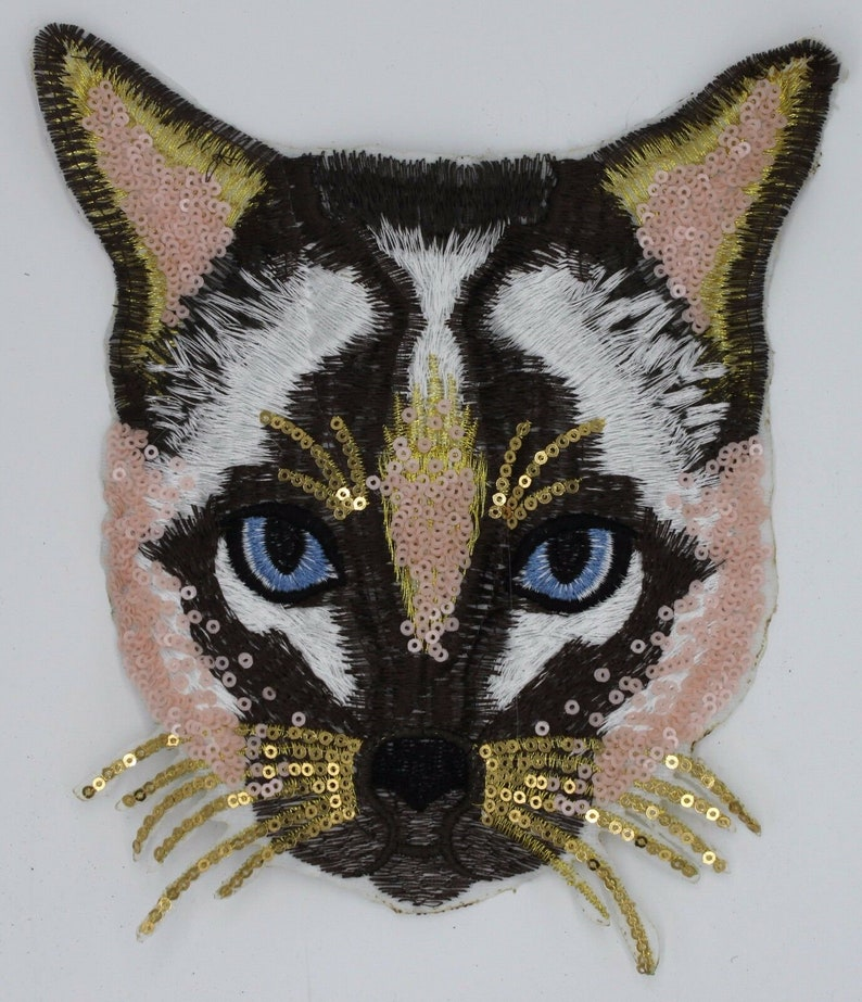 Sequin and Embroidery Patch: Household Cat image 0
