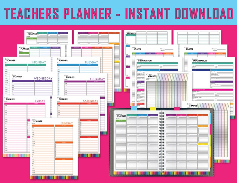 picture relating to Printable Teacher Planner called Vibrant Instructor Planner, Printable Lesson Planner, Instructor Planners, Faculty Lesson Program Ebook, Finish Website page, Instantaneous Obtain