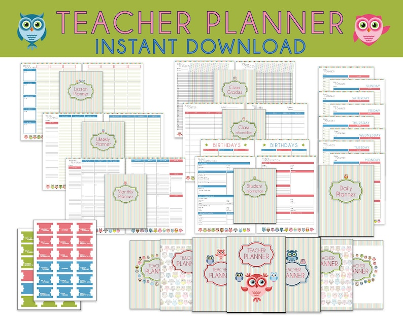 image relating to Lesson Planner Printable named Instructor Planner, Printable Lesson Planner, Instructor Planners, Higher education Lesson Method E-book, Finish Web site, Chicken Concept - Quick Down load