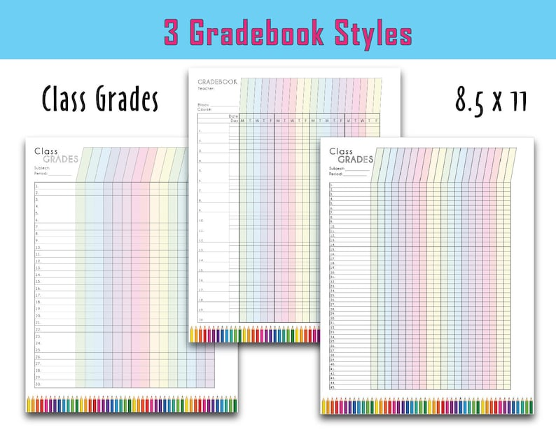 photo about Teacher Grade Book Printable known as Colourful Trainer Quality Sheet, Printable Quality Log, Instructor Gradebook, Comprehensive Web site, 3 functions - Prompt Down load