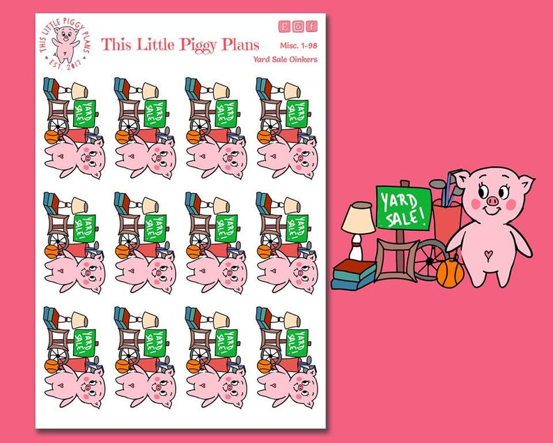 Yard Sale Oinkers  Yard Sale Planner Stickers  Moving image 0