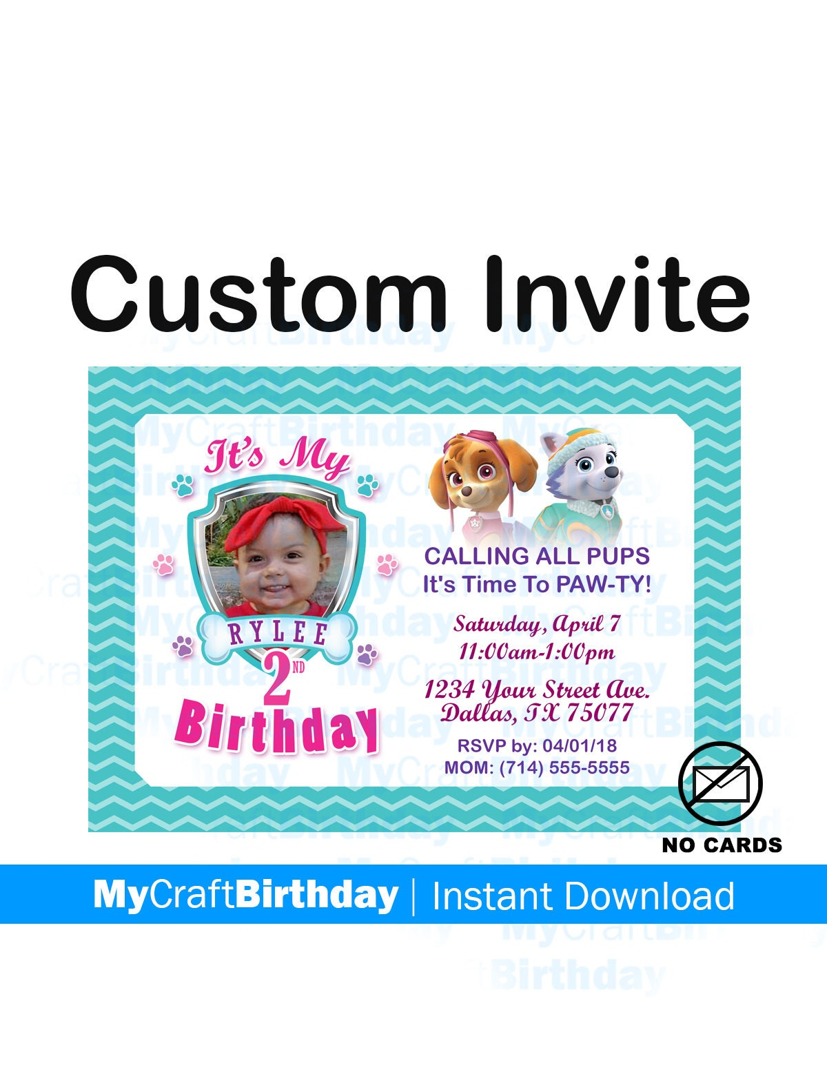 Paw Patrol Birthday Invitation Girl Invites