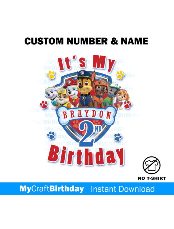 Paw Patrol Birthday Boy Shirt Design Chase Marshall Skye