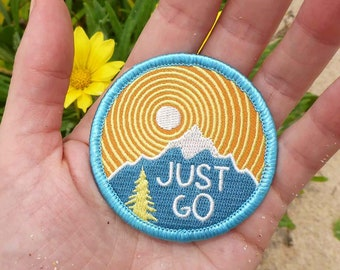 Just Go Patch - Hiking Patch - Adventure Patch - Traveler Patch - Travel Patch - Outdoors Patch - Mountain Patch - Blue Patch