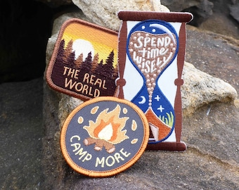 Camping Patch Batch - Bonfire Patch - Camping Patch - Travel Patch - Outdoors Patch - Nature Patch - Hourglass Patch - Forest Patch