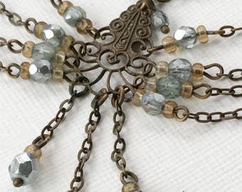 Antique Edwardian Necklace Dangle Pendant Blue Glass Filigree Victorian Jewelry