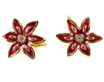 Vintage costume jewelry enamel flower shape wedding bridal clip on earrings