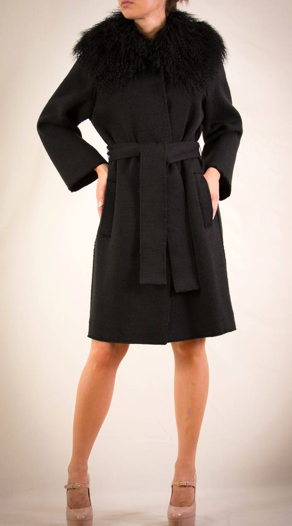Dolce & Gabbana Wool and Fur Black Knitted Coat