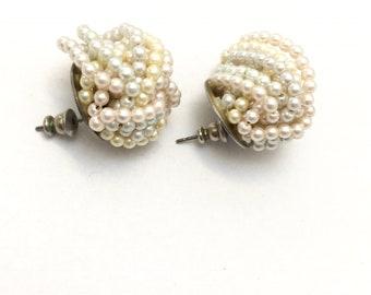 Vintage jewelry Vintages earrings faux pearls earrings 1960s earrings