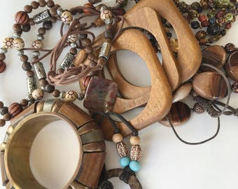 Collection of Vintage Costume Jewelry Wooden Bracelet Necklace Beaded Jewelry DIY Craft