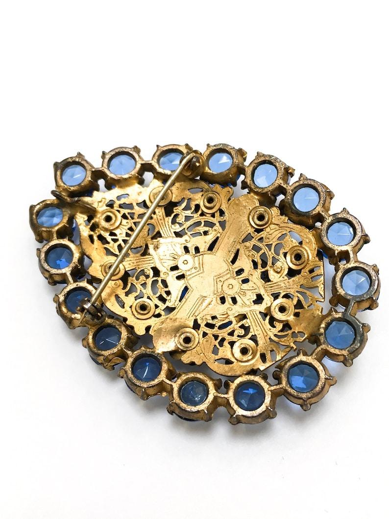 Art Deco Czech royal blue glass filigree pendant brooch